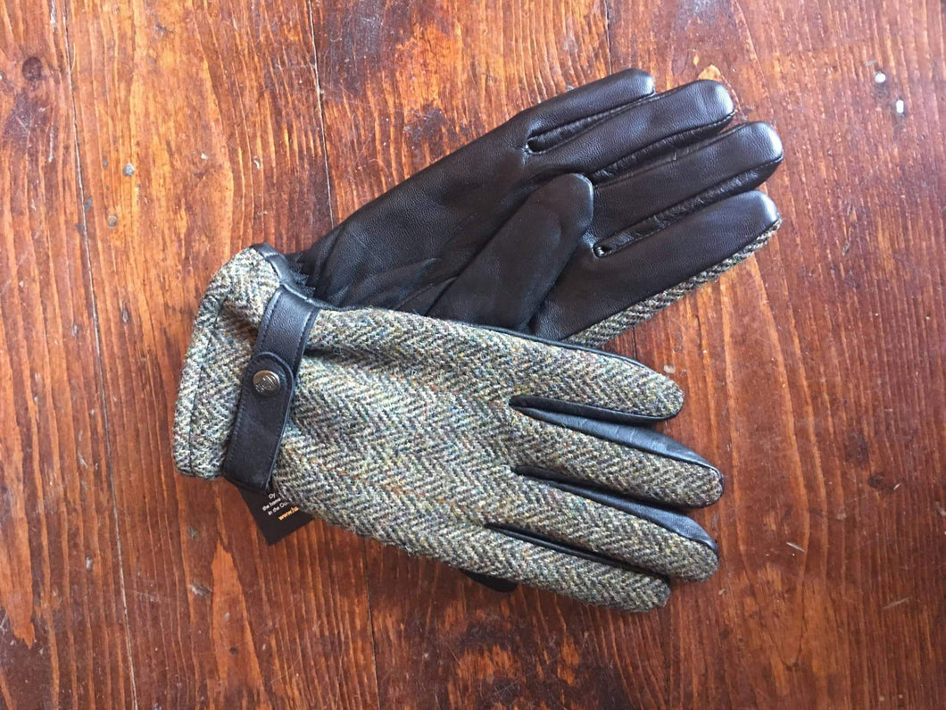 Olive Mix Harris Tweed Leather Gloves