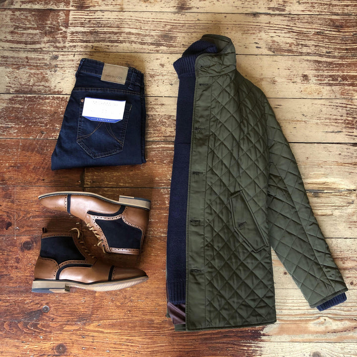 Olive Quilted Coat & Roll Neck Jumper Look skopes-pembridge-olive-quilted-coat / pearly-king-earthling-navy-low-turtle-neck-jumper / mish-mash-1984-reece-mid-denim-tapered-fit-jeans