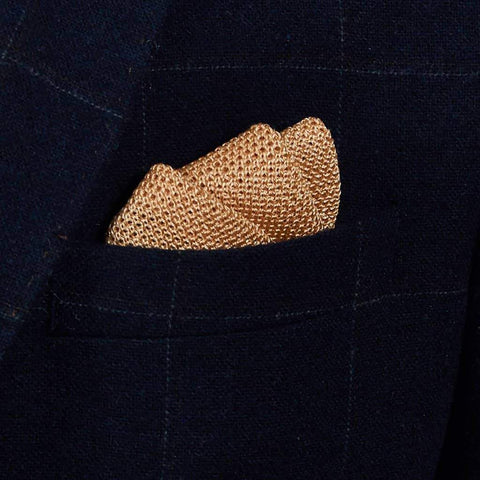 Pastel Gold Knitted Silk Pocket Square