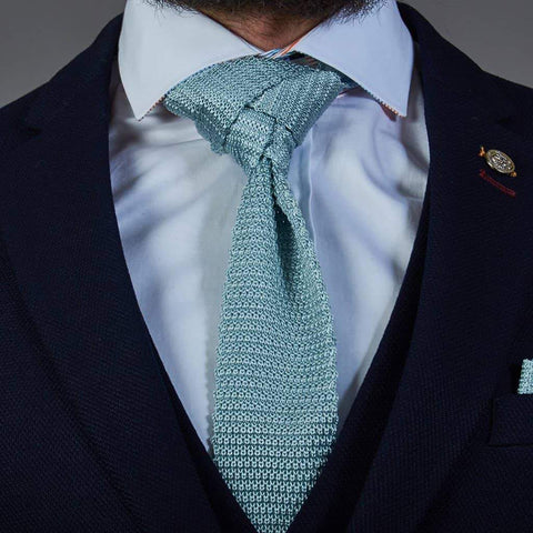 Pastel Turquoise Grey Knitted Silk Knitted Tie