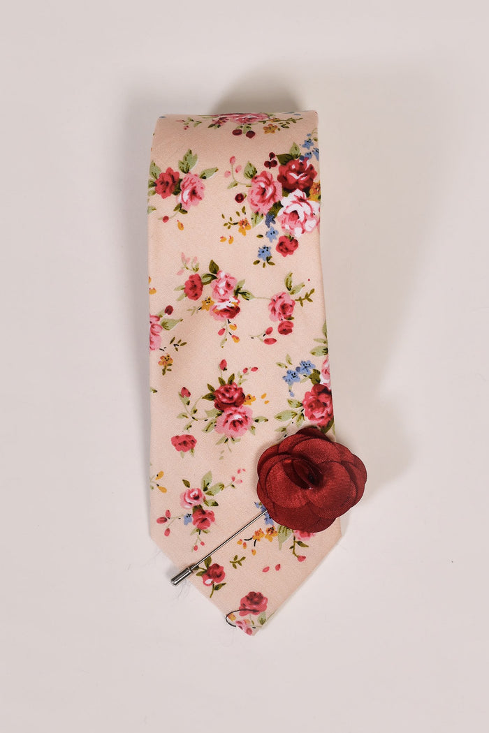 Peach Liberty Print Tie & Burgundy Lapel Pin Set Peach