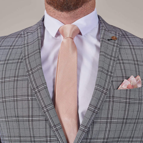 Peach Pink Silver Pocket Square