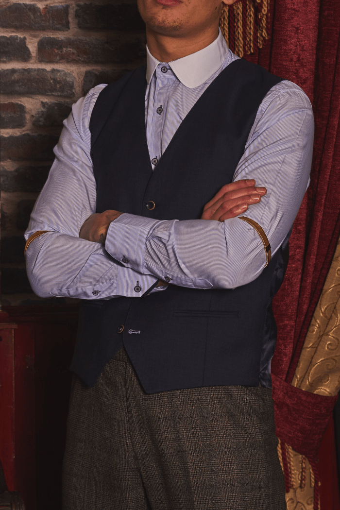 Peaky Debonair herbie-frogg-navy-wool-waistcoat / marc-darcy-sky-blue-stripe-shirt-with-penny-collar / master-debonair-charcoal-prince-of-wales-check-trousers