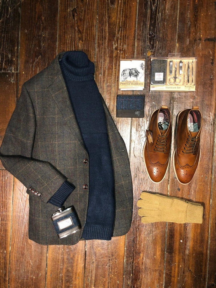 Pearly King With Hanagan Olive Blazer Look skopes-hanagan-olive-check-blazer / cavani-holmes-tan-brogue-boots / pearly-king-earthling-navy-low-turtle-neck-jumper