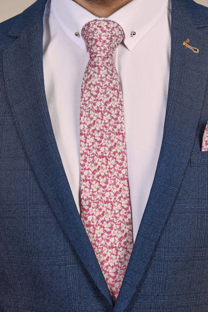 Pink Floral Tie, Pocket Square, Tie Clip & Cuff link Set Pink