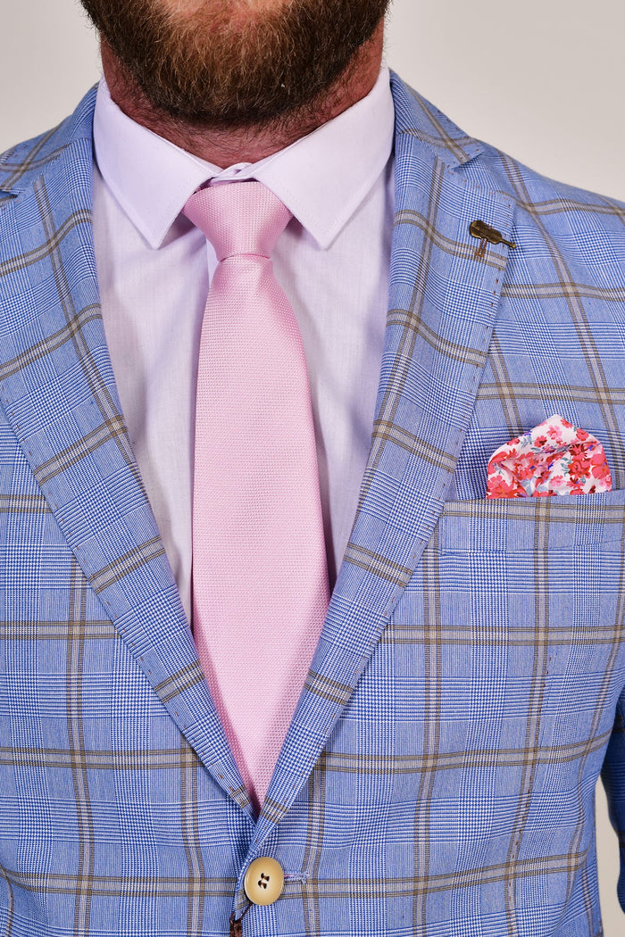 Pink Micro Dot Tie & Floral Pocket Square Set Pink