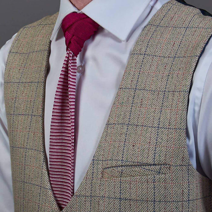 Pink White Stripe Knitted Silk Tie