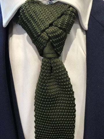 Plain Green Silk Knitted Tie