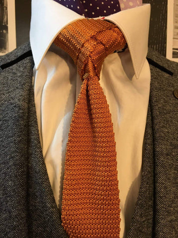 Plain Vintage Gold Silk Knitted Tie