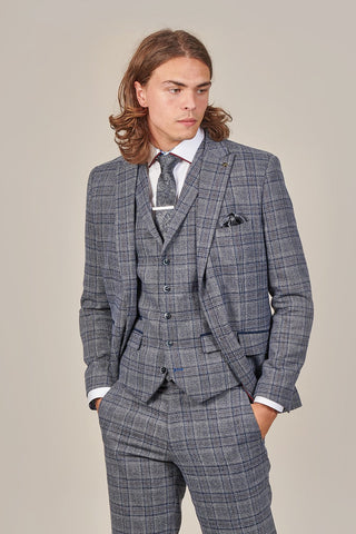 Master Debonair Master Debonair Lestrade Prince Of Wales Grey And Navy Tweed Blazer £124.99