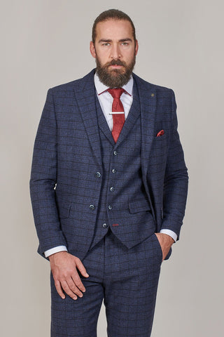 PRE SALE - Master Debonair Moriarty Subtle Navy Check Tweed Blazer