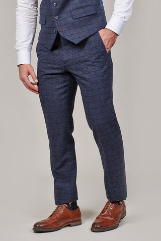 Master Debonair Master Debonair Moriarty Subtle Navy Check Tweed Trousers £59.99