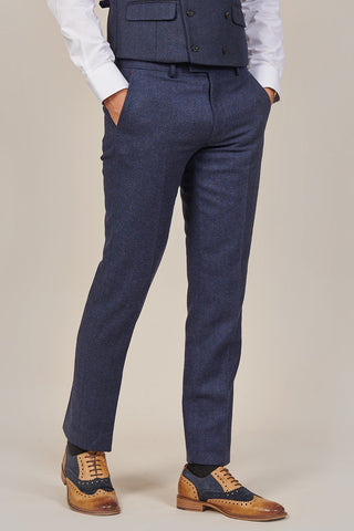 PRE SALE - Master Debonair Rathbone Navy Herringbone Tweed Trousers