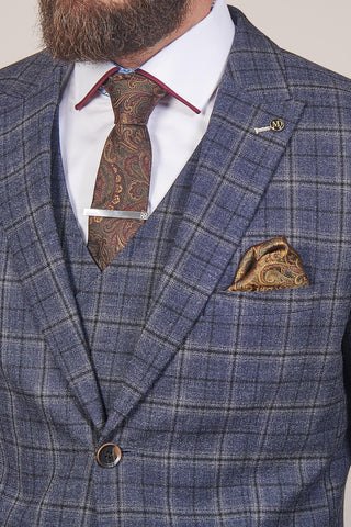 PRE SALE - Master Debonair Watson Navy And Tan Check Tweed Blazer