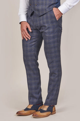 Master Debonair Master Debonair Watson Navy And Tan Check Tweed Trousers £49.99