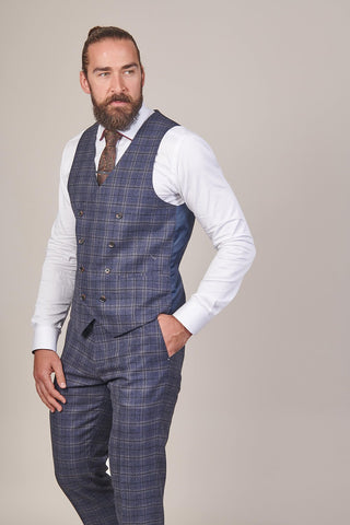 Master Debonair Master Debonair Watson Navy And Tan Check Tweed Waistcoat £49.99