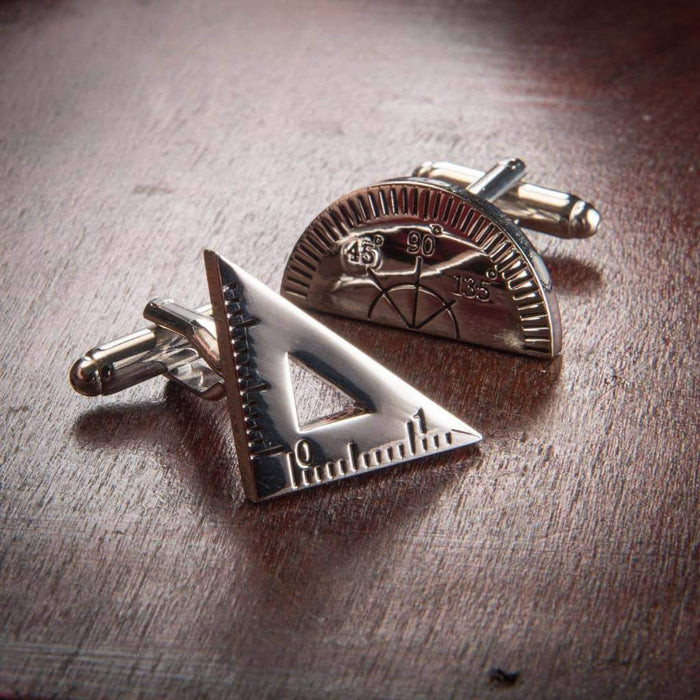 Protractor and Set Square Cufflinks