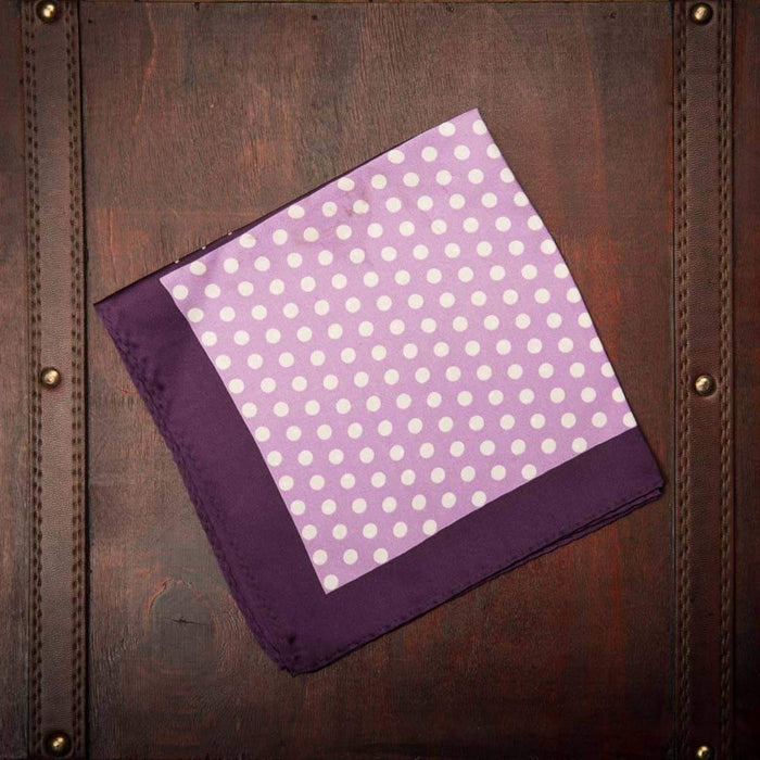 Purple and white dot silk Pocket square