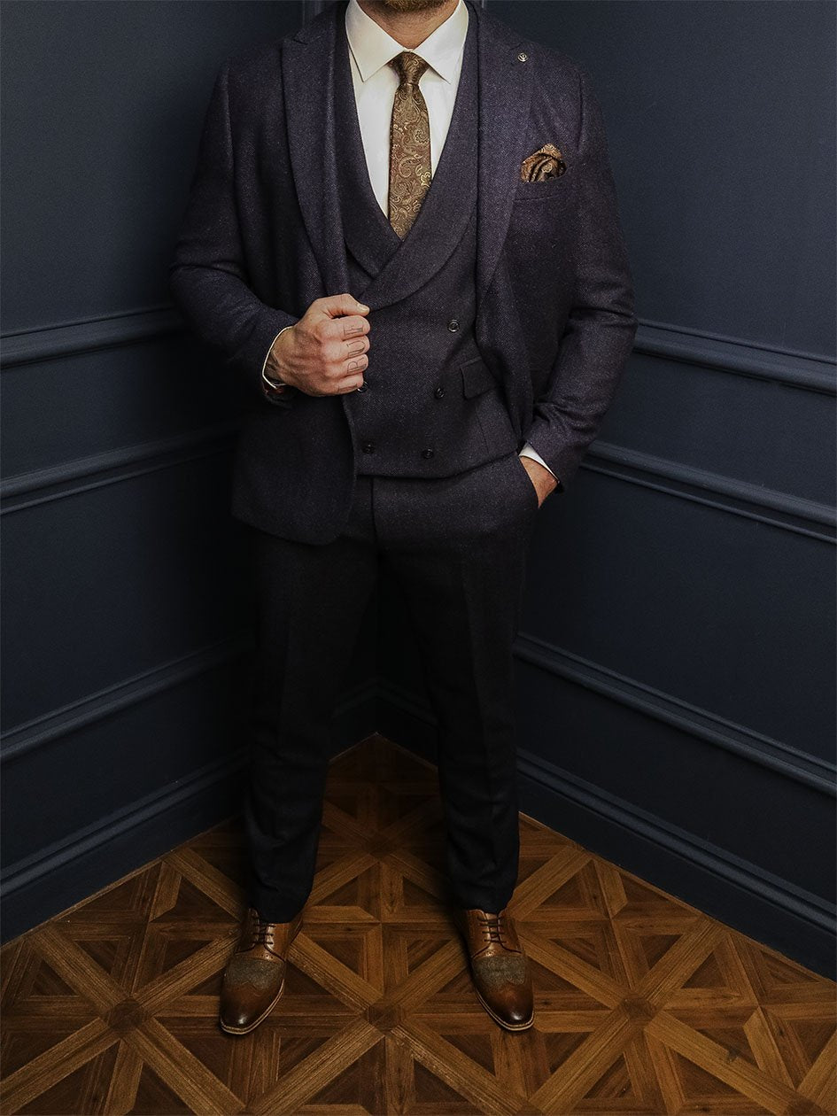Rathbone 3 Piece Smart Look master-debonair-rathbone-navy-herringbone-tweed-blazer / master-debonair-rathbone-navy-herringbone-tweed-waistcoat / master-debonair-rathbone-navy-herringbone-tweed-trousers