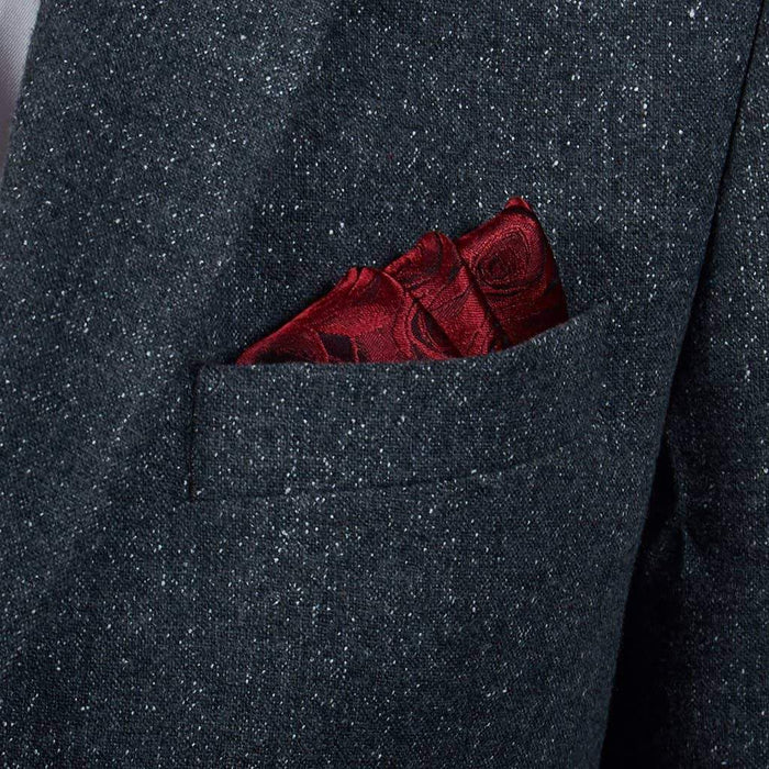 Red/Black Rose Silk Pocket Square