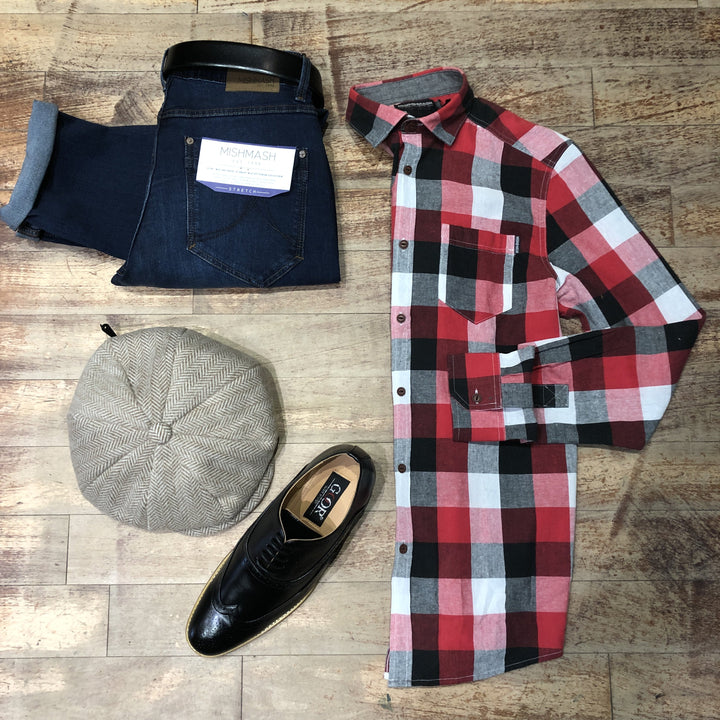 Red Check Flannel Shirt With Mid Wash Jeans Look mish-mash-navy-flannel-check-shirt / mish-mash-1984-reece-mid-denim-tapered-fit-jeans / heritage-traditions-biscuit-twill-herringbone-8-piece-bakerboy-cap
