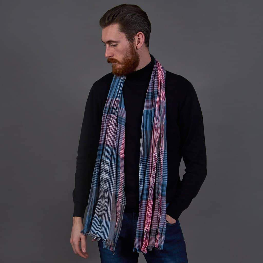 Red/Grey Cotton Scarf
