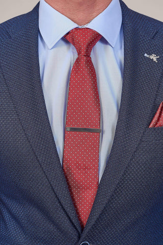 Red Spotted Tie, Pocket Square & Tie Clip Set Red