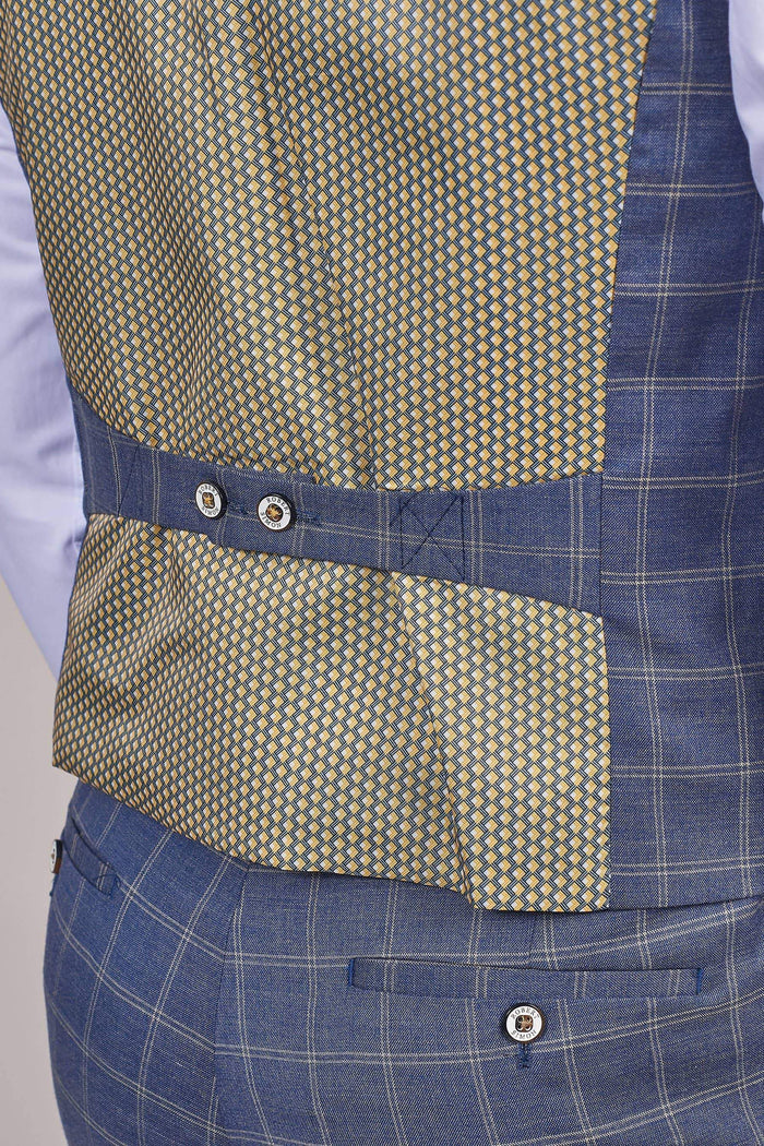 Robert Simon Denim Blue Check Waistcoat