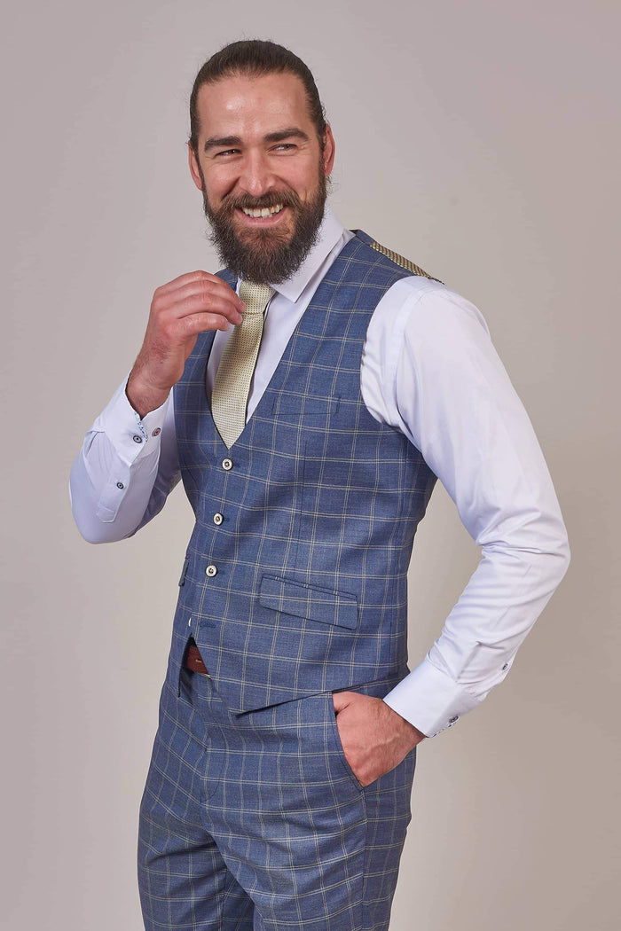 Robert Simon Denim Blue Check Waistcoat 36R