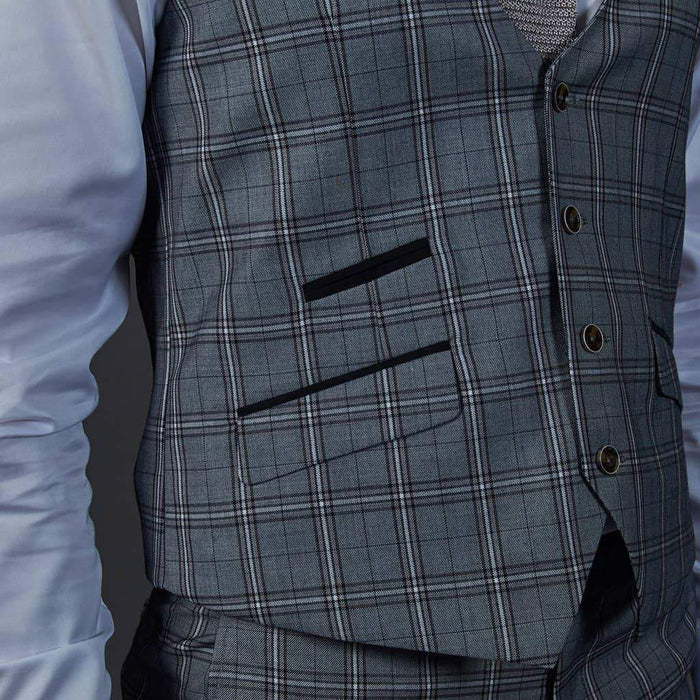 Robert Simon Grey Check Single Breasted Waistcoat