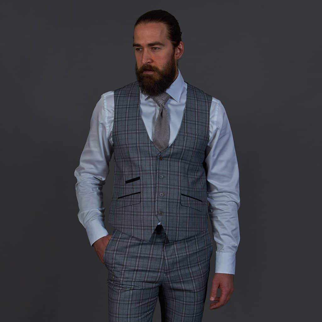 Robert Simon Grey Check Single Breasted Waistcoat 36R / Grey