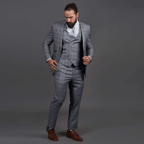 Robert Simon Grey Check Suit robert-simon-grey-check-suit-jacket / robert-simon-grey-check-double-breasted-waistcoat / robert-simon-grey-check-trousers