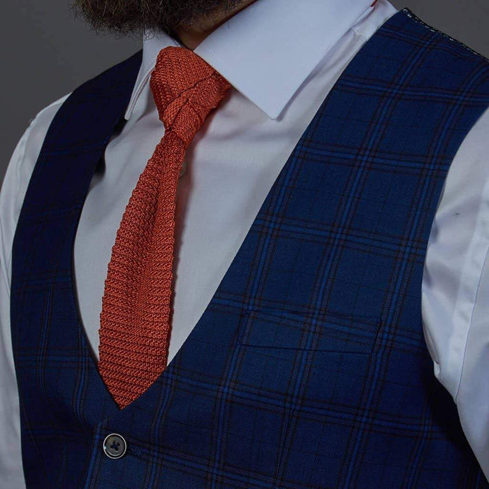 Robert Simon Robert Simon Navy Check Single Breasted Waistcoat £25.00