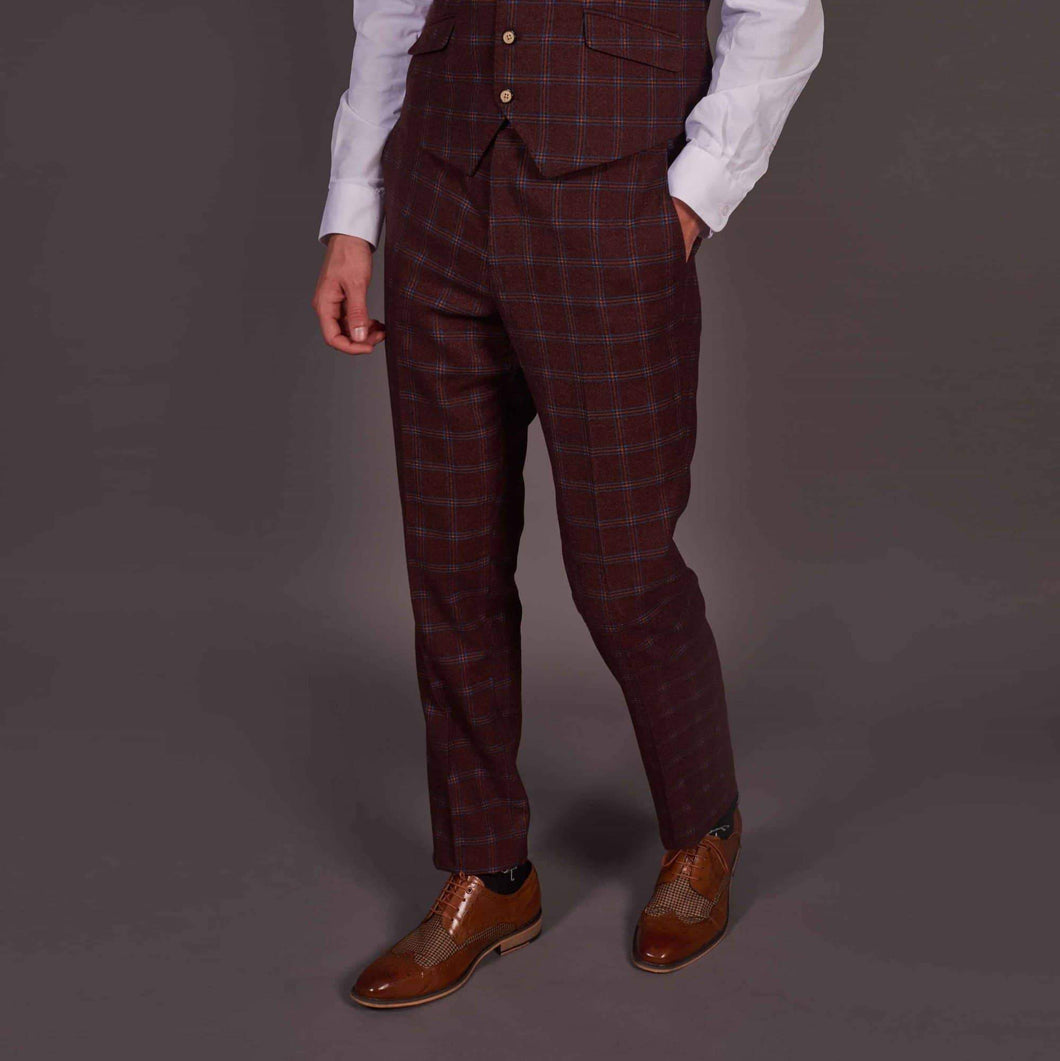 Robert Simon Wine Check Tweed Style Trousers 32R / Wine