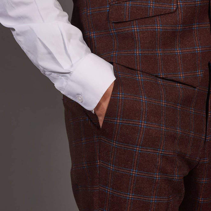 Robert Simon Wine Check Tweed Style Trousers