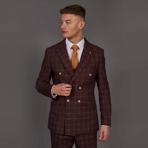 Robert Simon Wine Double Breasted Check Tweed Style Blazer 38R / Wine