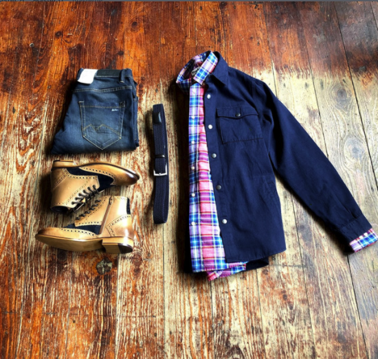 Saturday Layered Barbour Casual barbour-ender-wax-royal-navy-cotton-jacket / blend-twister-dark-wash-slim-fit-jeans / barbour-sandwood-pink-cotton-check-shirt