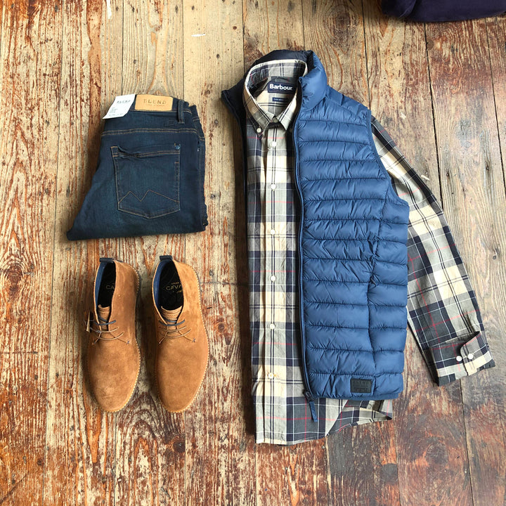 Saturday's Best Babour Blend barbour-sandwood-stone-cotton-check-shirt / blend-dark-wash-jeans / cavani-sahara-tobacco-suede-desert-boots