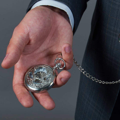 Master Debonair Silver Japanese Steampunk Pocket Watch £39.99