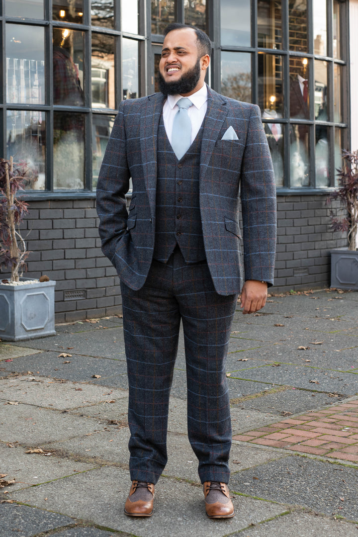 Skopes Doyle Grey Check 3 Piece Suit skopes-doyle-grey-check-blazer / skopes-doyle-grey-check-tailored-fit-waistcoat / skopes-doyle-grey-check-tailored-fit-trousers