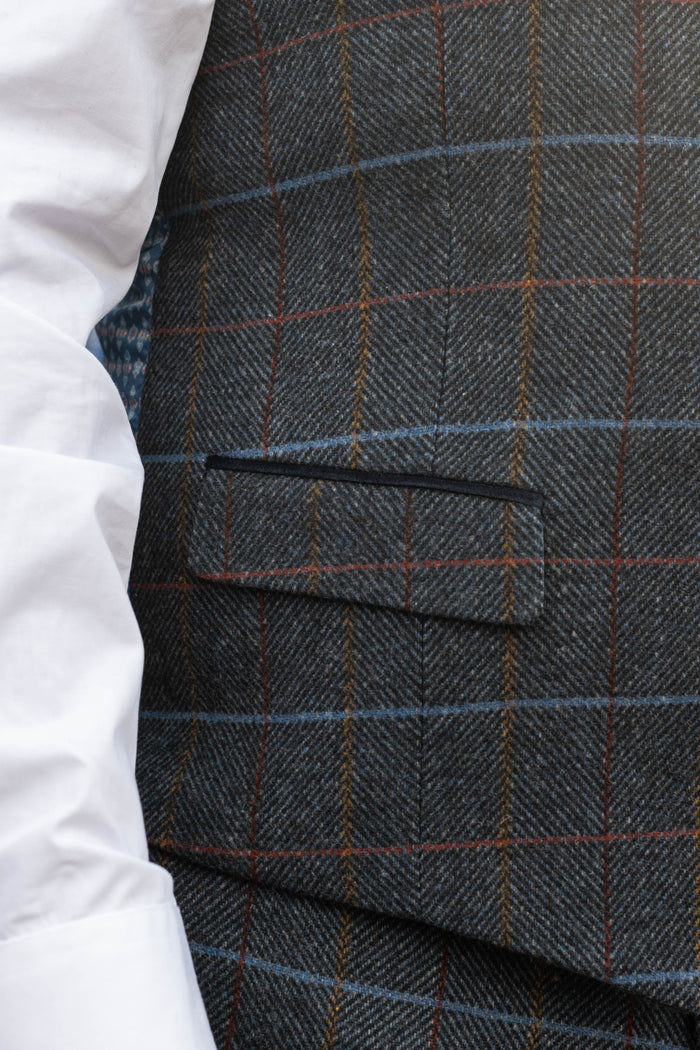 Skopes Doyle Grey Check Tailored Fit Waistcoat