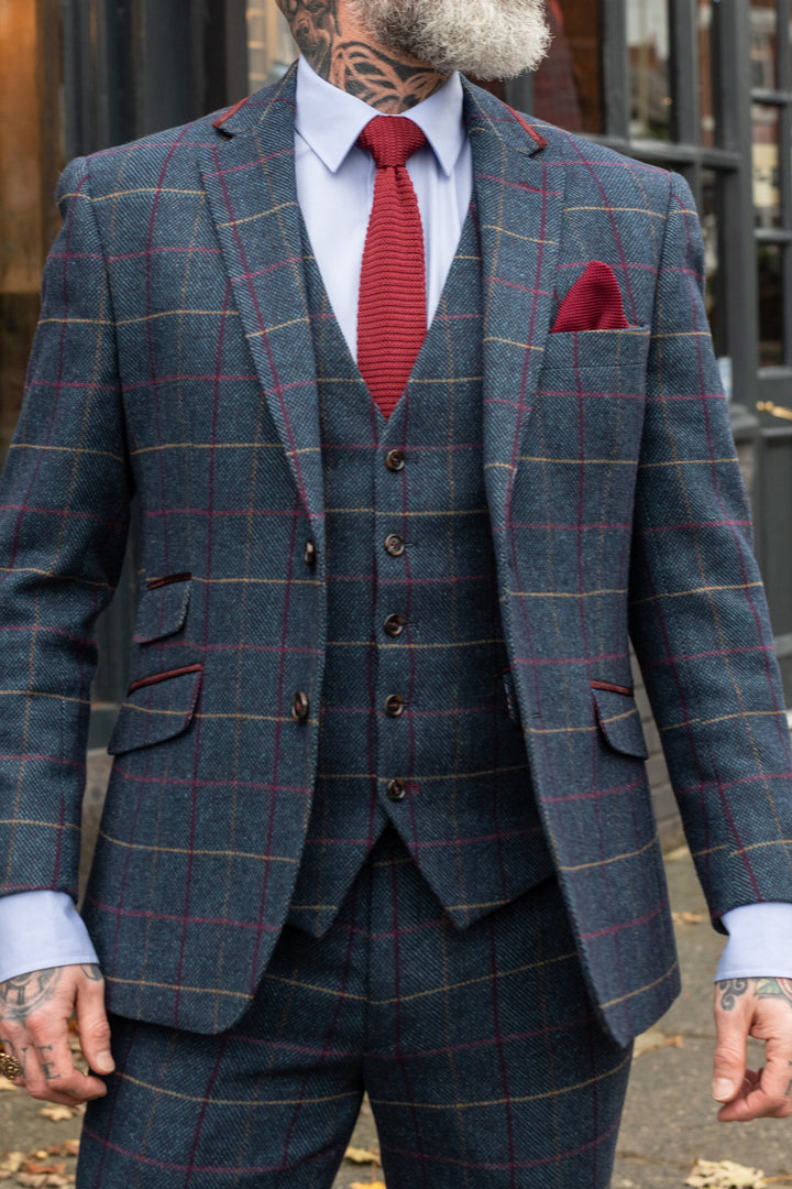 Skopes Doyle Navy Check 3 Piece Suit skopes-doyle-navy-check-blazer / skopes-doyle-navy-check-tailored-fit-waistcoat / skopes-doyle-navy-check-tailored-fit-trousers