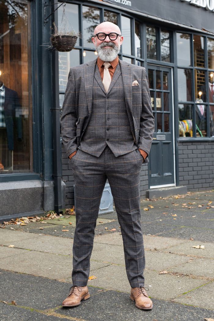 Skopes Leahy Brown Check Tailored Fit Trousers