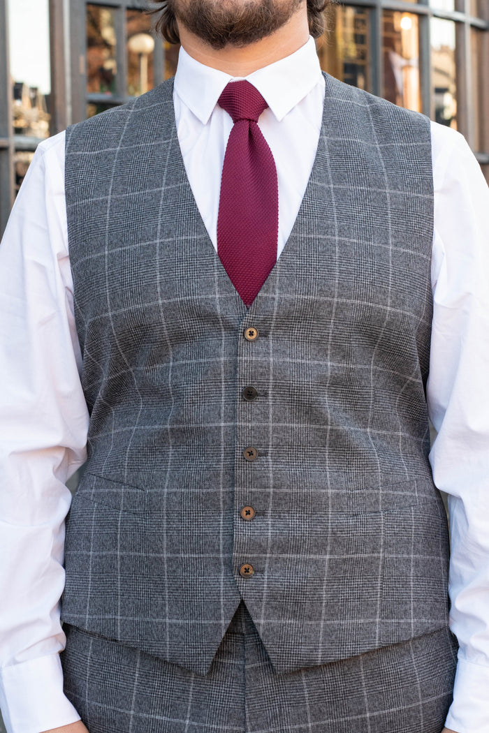 Skopes Tudhope Charcoal Check Single Breasted Waistcoat