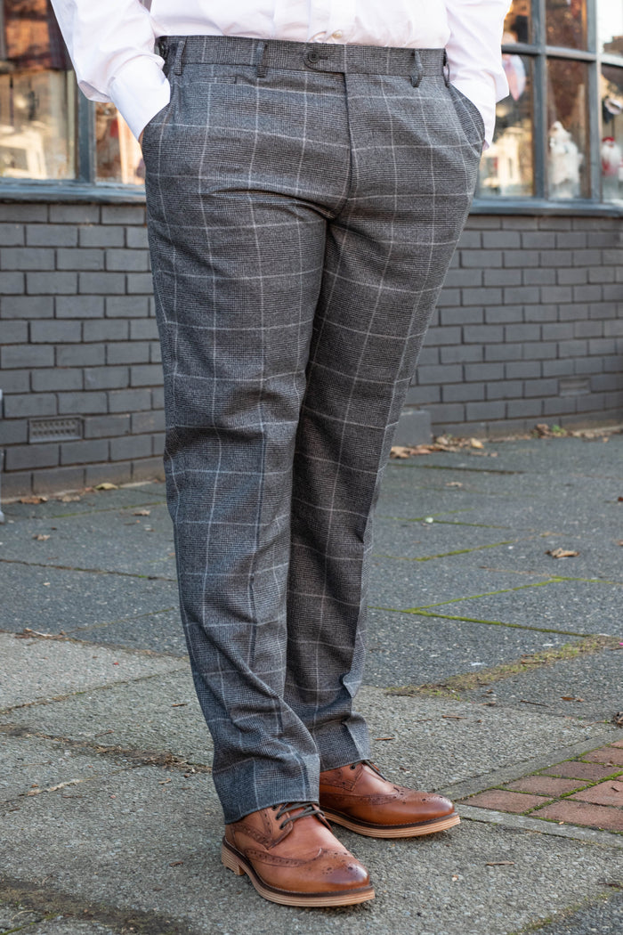 Skopes Tudhope Charcoal Check Tailored Fit Trousers