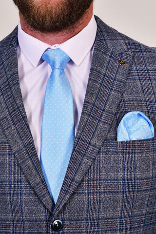 Sky Blue Dot Tie & Pocket Square Set Sky Blue