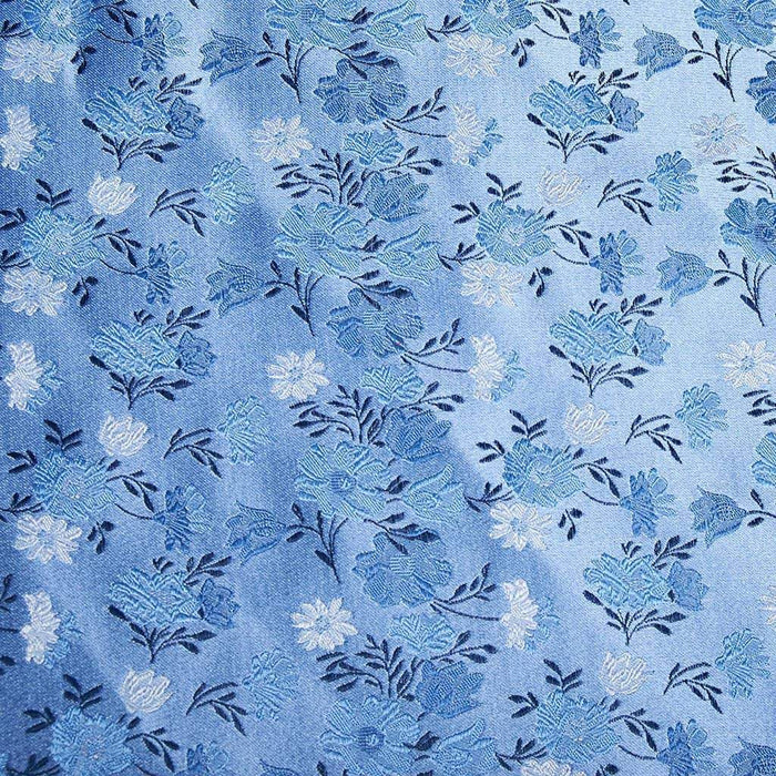 Sky Blue Floral Pattern Silk Pocket Square