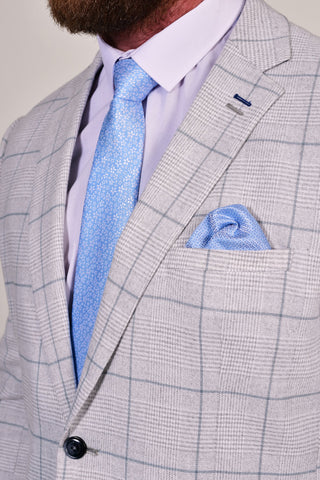 Sky Blue Mini Floral Tie & Pocket Square Set Sky Blue