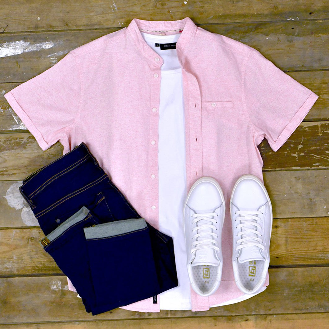 Sky Pink Grandad Shirt & Jeans copy-of-blend-white-cotton-tiger-print-t-shirt / barbour-mortan-inky-blue-overshirt / blend-sand-brown-chinos