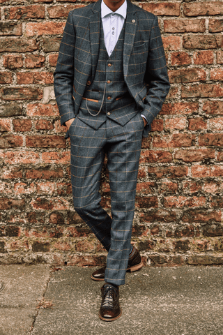 Solomon's Peaky Blinders Look marc-darcy-eton-navy-check-tweed-style-3-piece-suit / master-debonair-sky-blue-shirt-with-floral-trim / london-brogues-gatsby-bordo-brogue-shoe